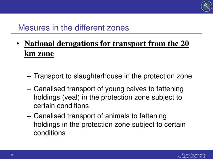 Mesures in the different zones