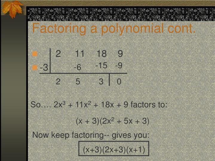 Factoring a polynomial cont.