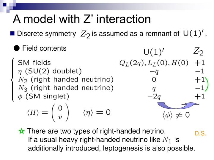A model with Z' interaction