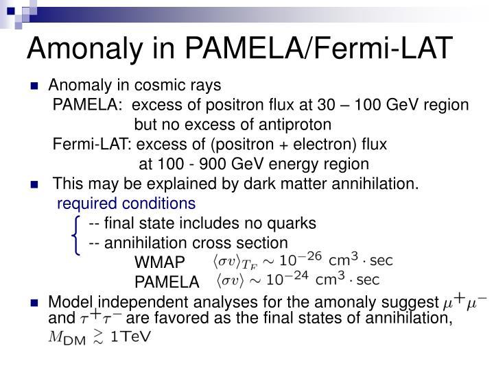 Amonaly in PAMELA/Fermi-LAT