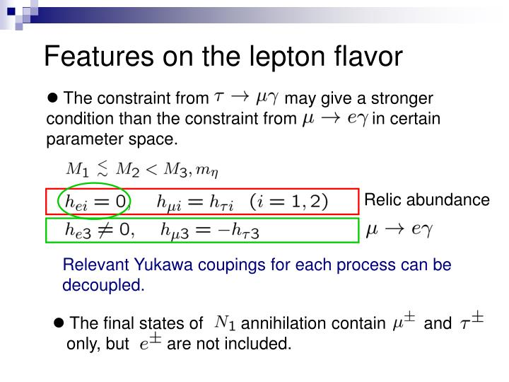 Features on the lepton flavor
