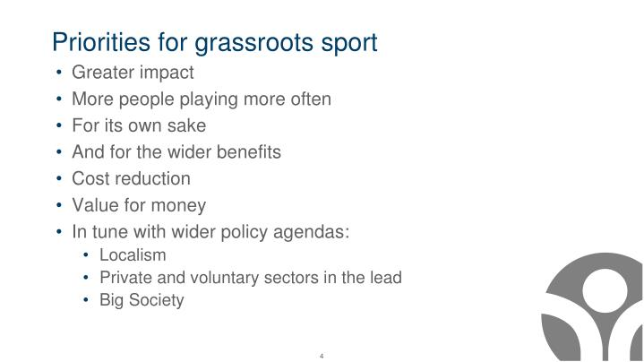 Priorities for grassroots sport