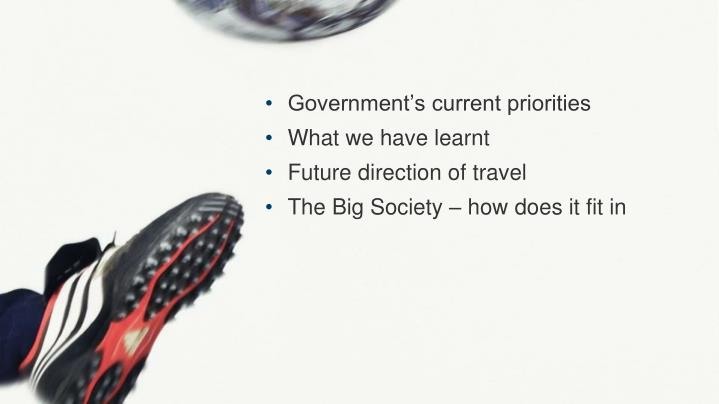 Government's current priorities