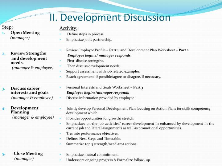 II. Development Discussion
