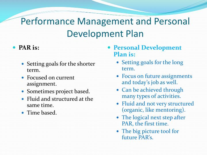 Performance Management and Personal Development Plan