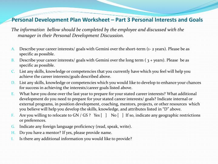 Personal Development Plan Worksheet – Part 3 Personal Interests and Goals