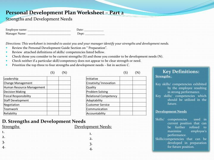 Personal Development Plan Worksheet – Part 2