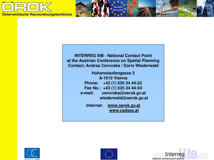 INTERREG IIIB - National Contact Point