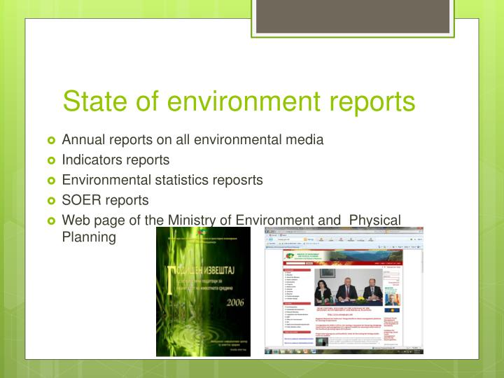 State of environment reports