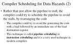 compiler scheduling for data hazards 2