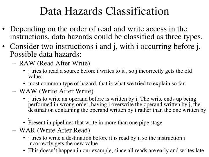 Data Hazards Classification