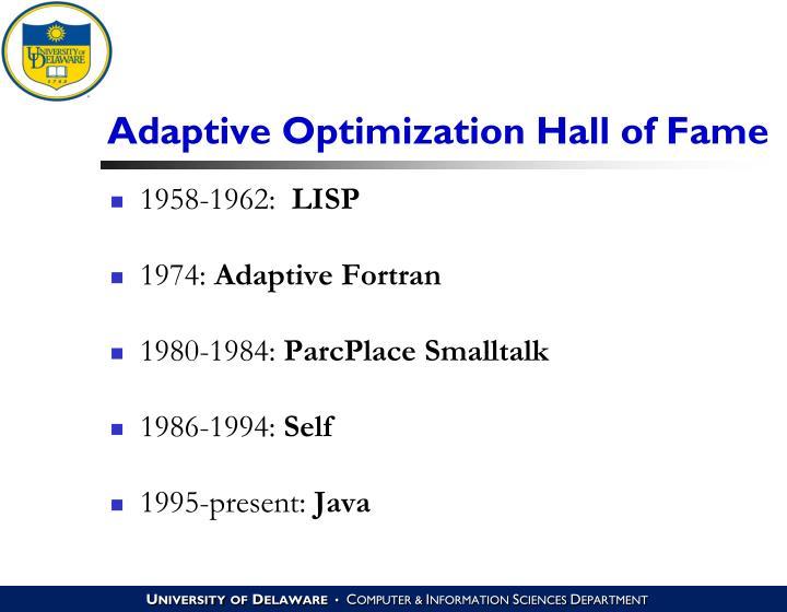Adaptive Optimization Hall of Fame