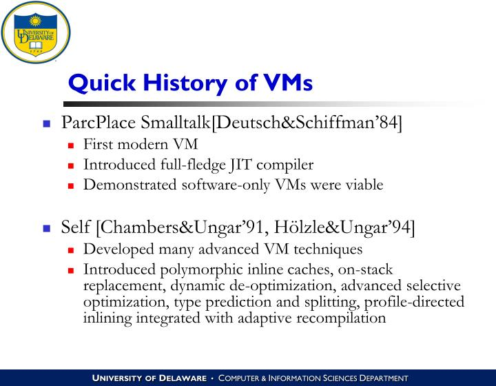 Quick History of VMs