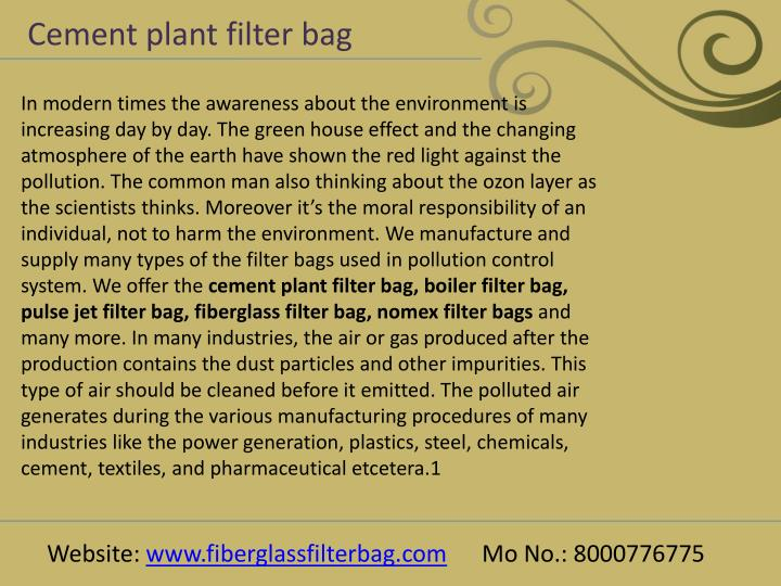 Cement plant filter bag