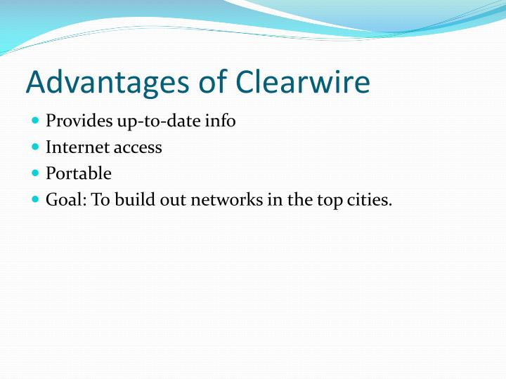 Advantages of Clearwire