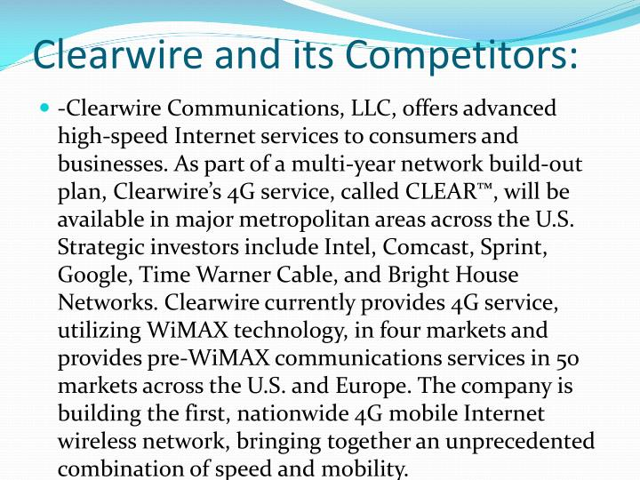 Clearwire and its Competitors: