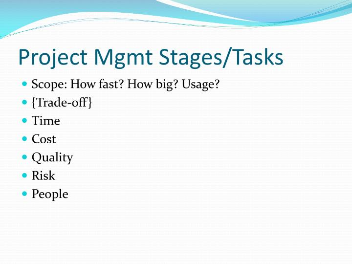 Project Mgmt Stages/Tasks