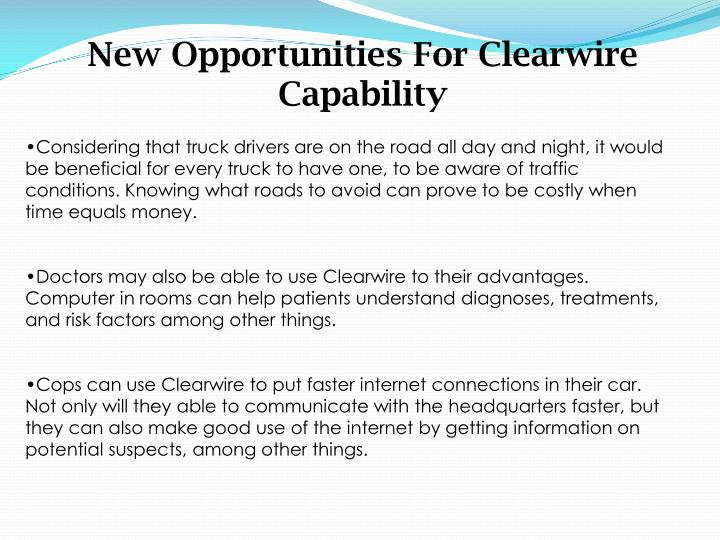 New Opportunities For Clearwire Capability