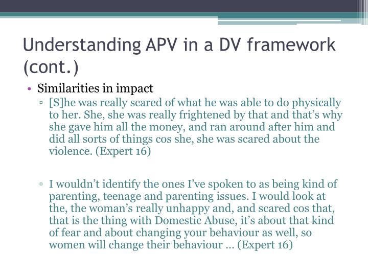 Understanding APV in a DV