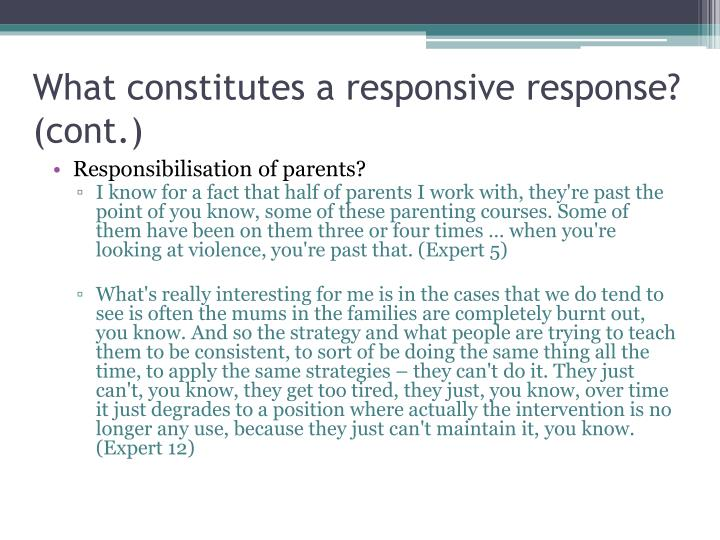 What constitutes a responsive response? (cont.)