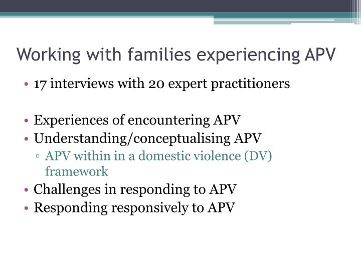 Working with families experiencing
