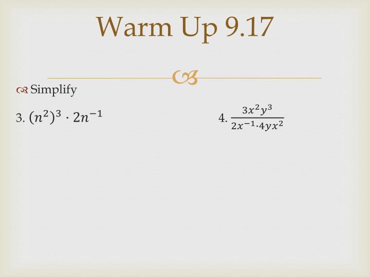 Warm Up 9.17