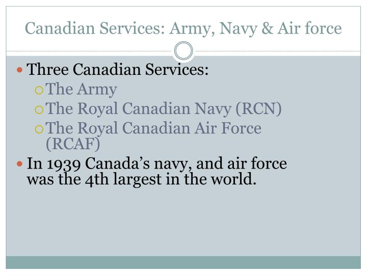 Canadian Services: Army, Navy & Air force
