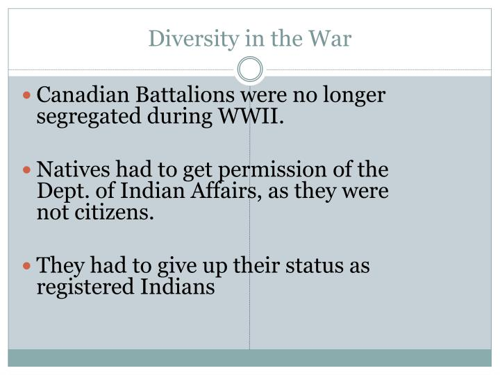 Diversity in the War