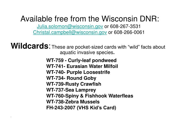 Available free from the Wisconsin DNR: