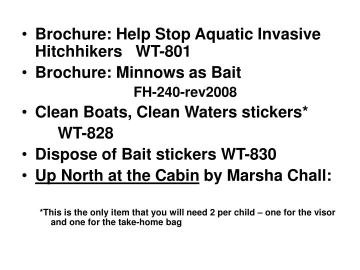 Brochure: Help Stop Aquatic Invasive Hitchhikers   WT-801