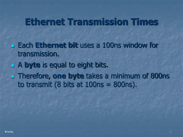 Ethernet Transmission Times