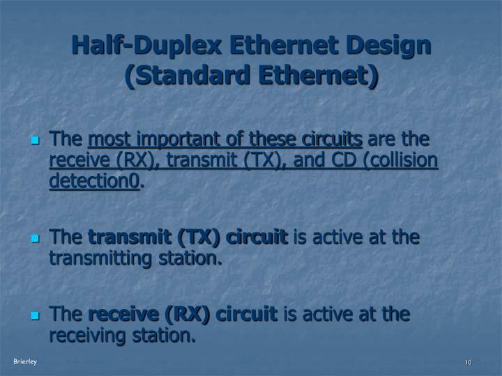 Half-Duplex Ethernet Design (Standard Ethernet)