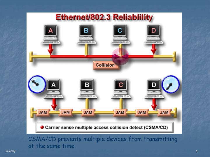 CSMA/CD prevents multiple devices from transmitting at the same time.