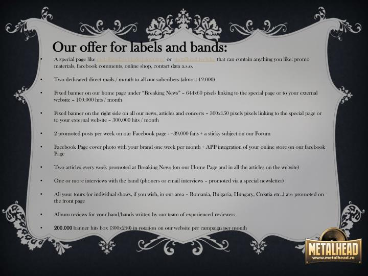 Our offer for labels and bands: