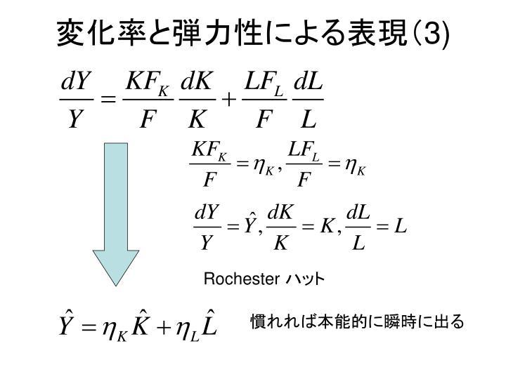 変化率と弾力性による表現(