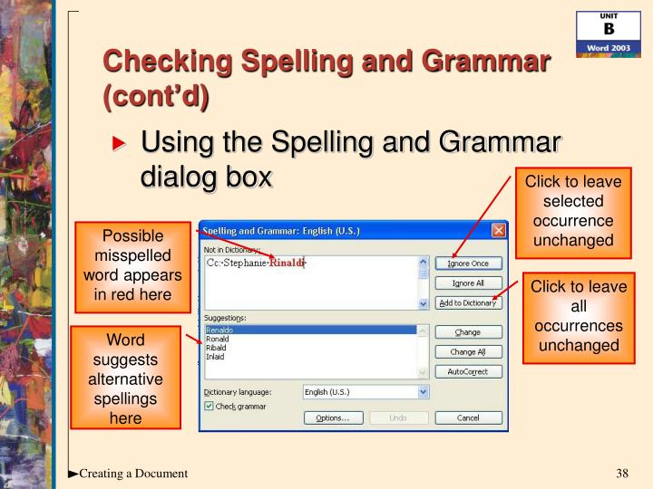 Checking Spelling and Grammar (cont'd)