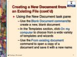 creating a new document from an existing file cont d