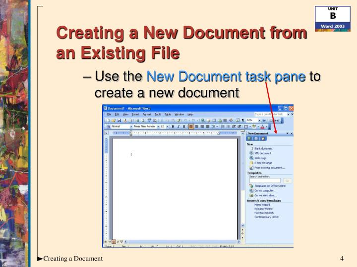 Creating a New Document from an Existing File