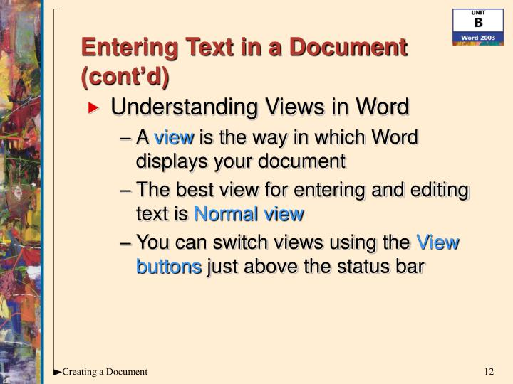 Entering Text in a Document (cont'd)