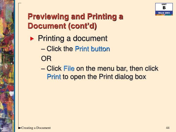 Previewing and Printing a Document (cont'd)