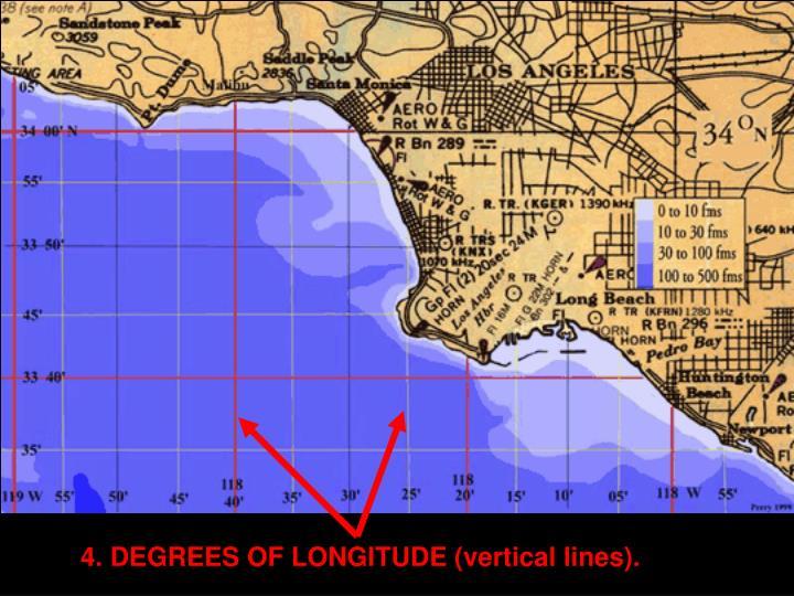 4. DEGREES OF LONGITUDE (vertical lines).
