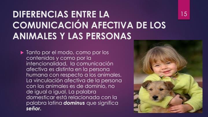 DIFERENCIAS ENTRE LA COMUNICACIÓN AFECTIVA DE LOS ANIMALES Y LAS PERSONAS
