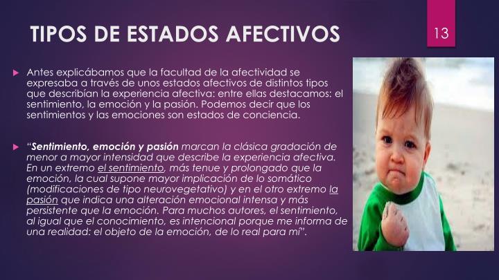 TIPOS DE ESTADOS AFECTIVOS
