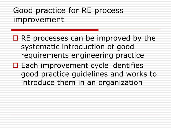 Good practice for RE process improvement