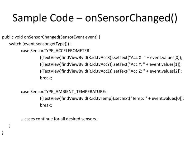 Sample Code –