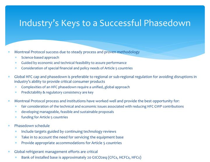 Industry's Keys to a Successful Phasedown