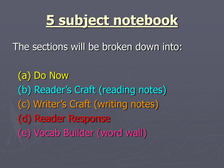 5 subject notebook