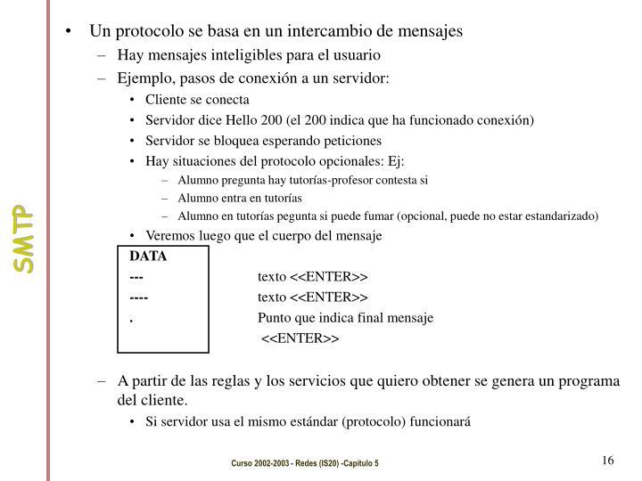 Un protocolo se basa en un intercambio de mensajes