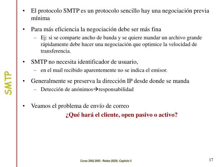 El protocolo SMTP es un protocolo sencillo hay una negociación previa mínima