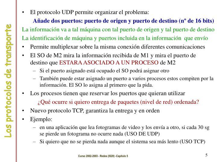 El protocolo UDP permite organizar el problema: